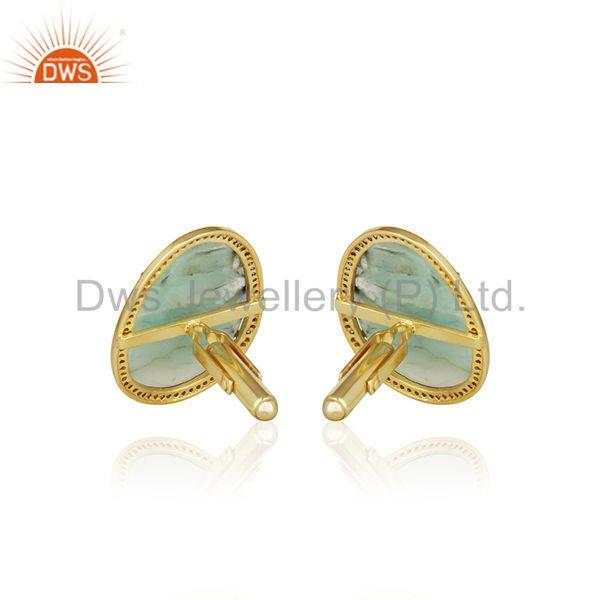 Suppliers Handmade 925 Silver Gold Plated Pave Diamond and Emerald Birthstone Cufflinks