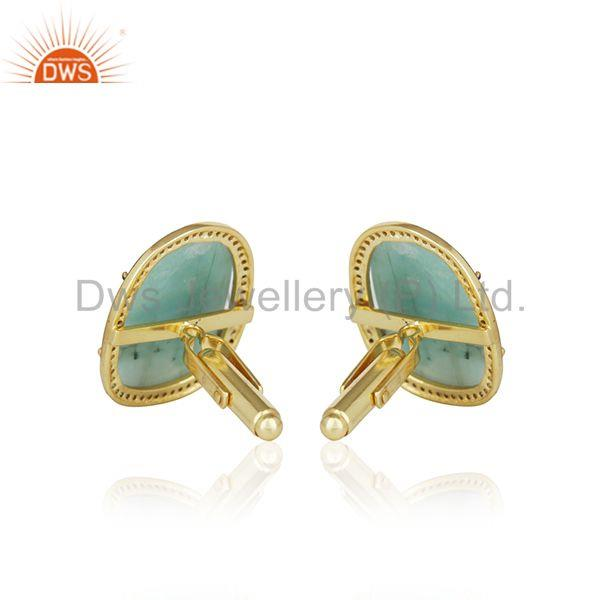 Suppliers 14k Gold Plated 925 Silver Pave Diamond And Emerald Gemstone Cufflinks For Mens