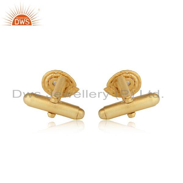 Designer of Rainbow moonstone gemstone designer gold plated silver cufflinks