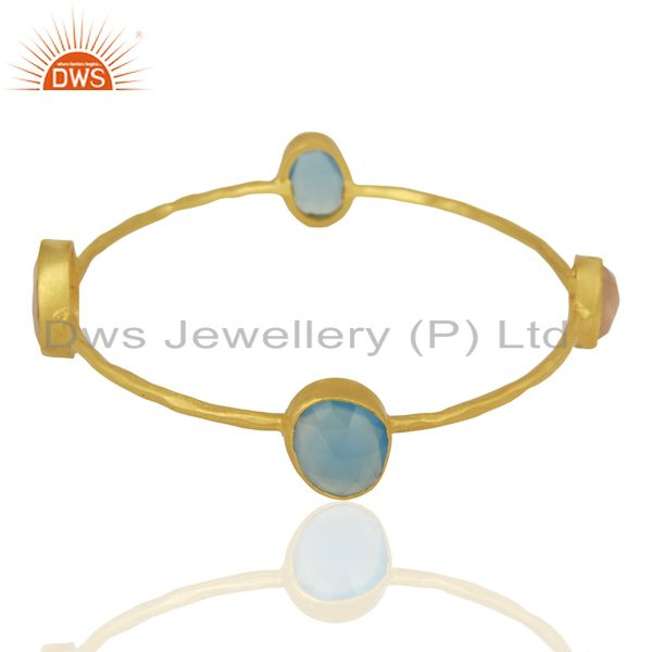 Wholesalers of Blue chalcedony rose chalcedony 14k yellow gold plated brass bangle