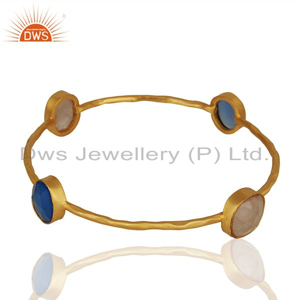 Wholesalers of Dyed chalcedony rose quartz 18k gold plated stackable brass bangle