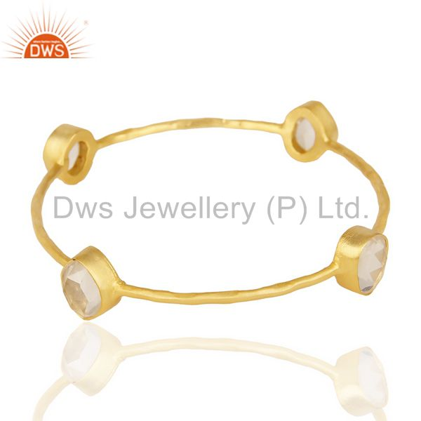 Suppliers Crystal Fourstone 14K Gold Plated Four Stone Fashion Bangle