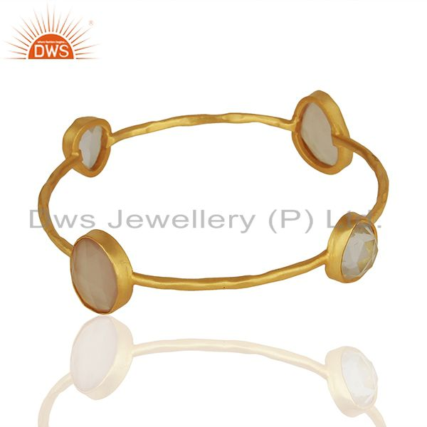 Wholesalers of Rose chalcedony gemstone gold plated fashion bangle manufacturers