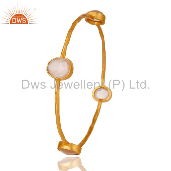 Wholesalers of 22k yellow gold plated brass natural rose quartz stackable bangle