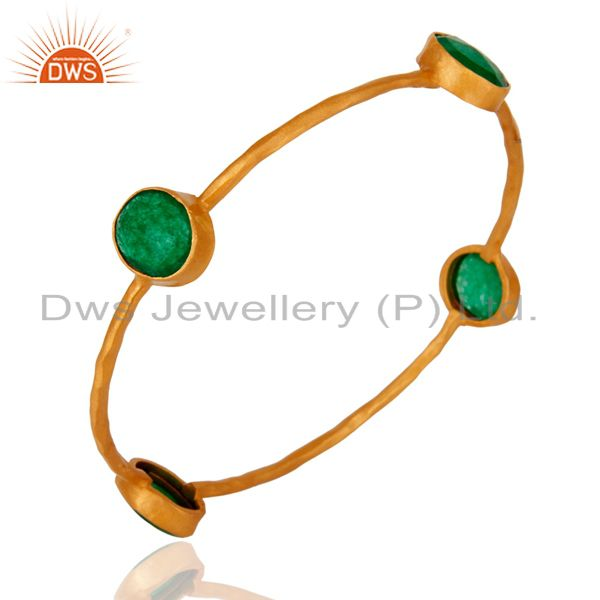 Wholesalers of 22k solid yellow gold green aventurine gemstone hammered bangle