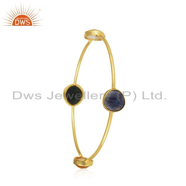 Wholesalers of Natural multi gemstone handmade gold on 925 silver bangle supplier