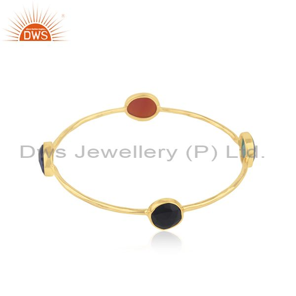 Wholesalers of Natural gemstone gold plated silver bangle jewelry supplier