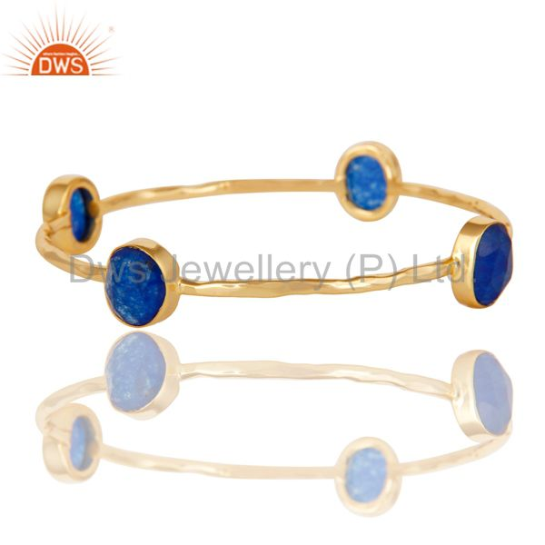 Wholesalers of 18k gold 925 silver natural blue aventurine gemstone stack bangle