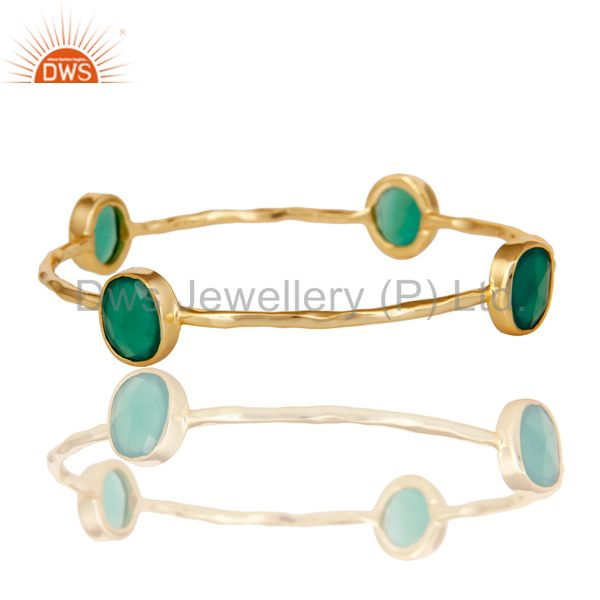 Wholesalers of 22k gold plated green onyx gemstone sterling silver sleek bangle