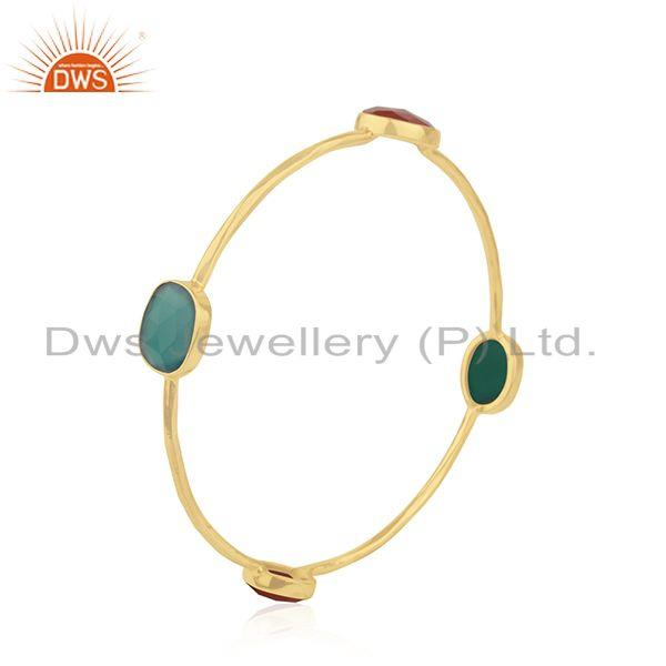 Wholesalers of Red and green onyx gemstone 925 silver bangle jewelry
