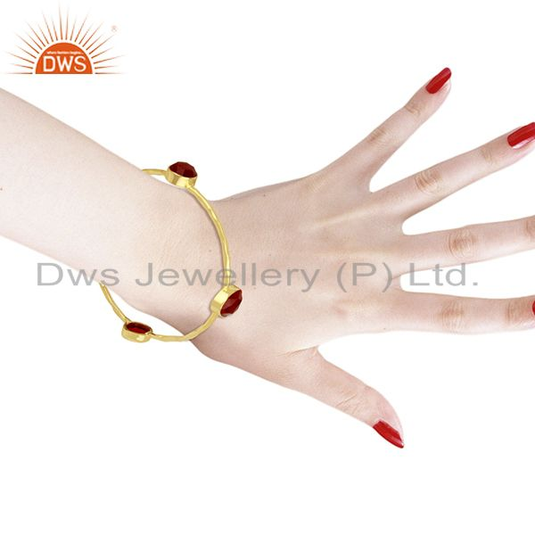 Wholesalers of Handmade 24k gold plated 925 sterling silver red aventurine bangle