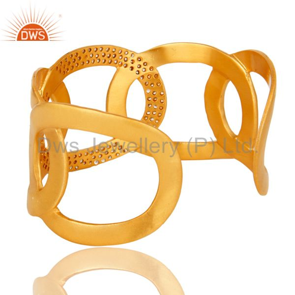 Suppliers 18K Yellow Gold Plated Designer Wide Cuff Bracelet Bangle With Cubic Zirconia