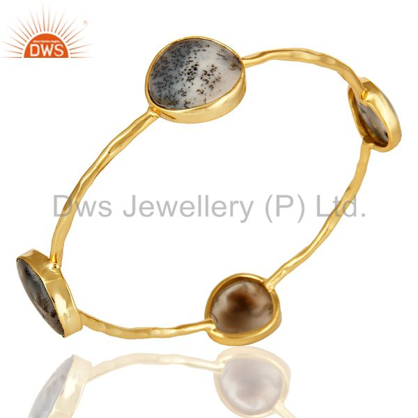 Wholesalers of 14k yellow gold over sterling silver dendritic opal gemstone bangle