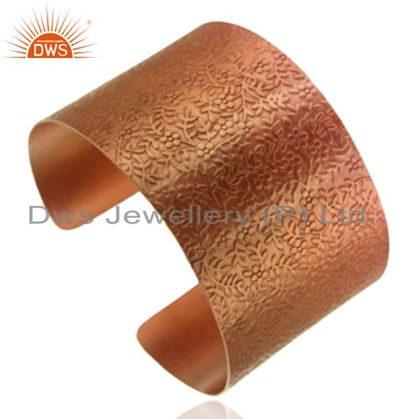 Suppliers 18K Rose Gold Plated Sterling Silver Floral Engraved Wide Cuff Bracelet