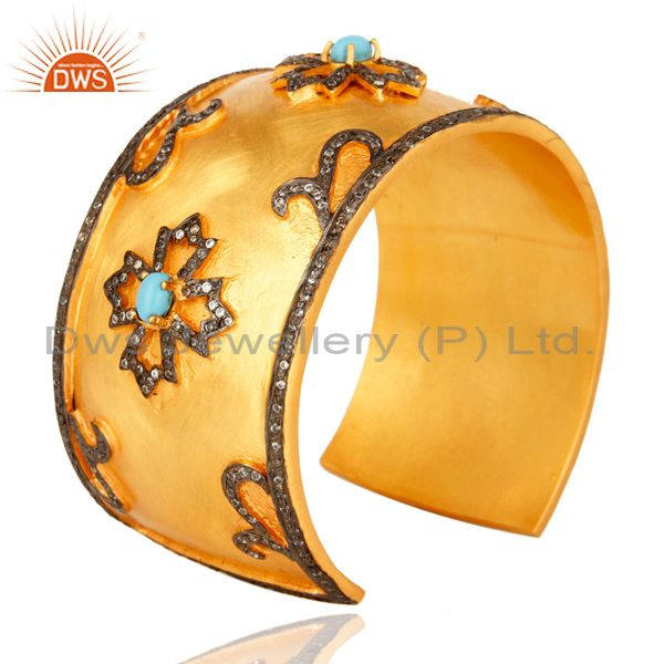 Suppliers Turquoise And CZ Yellow Gold Plated Brass Wide Bangle Cuff Bracelet
