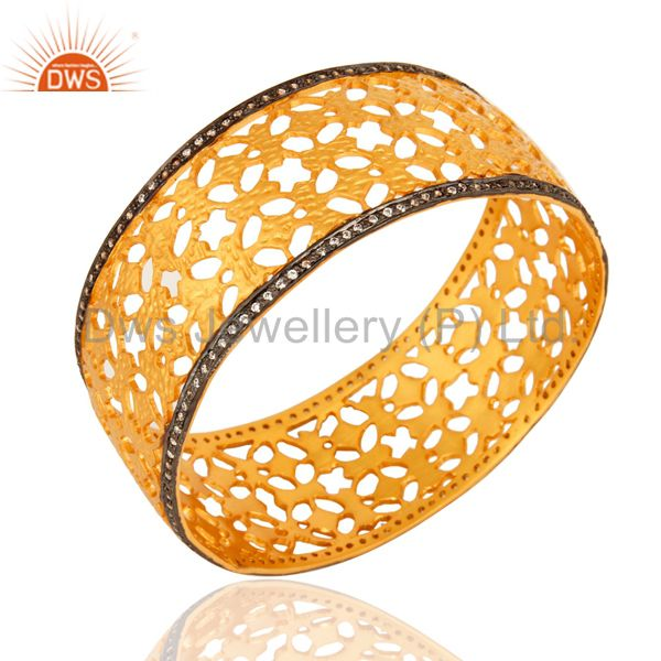 Wholesalers of 18k yellow gold over brass filigree cuff bracelet wide bangles cz