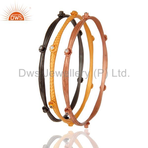 Suppliers 18K Gold Plated Clear Cubic Zirconia Bangle Bracelet Best Gift For Her Three Pcs