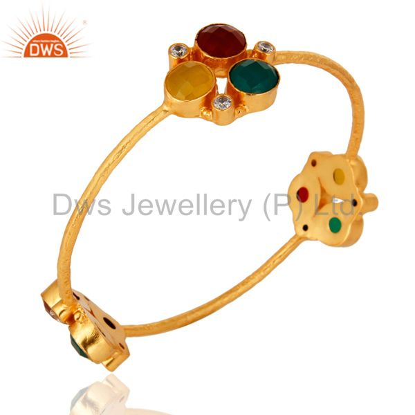 Wholesalers of Handmade red green onyx moonstone bangle 18k yellow gold over brass