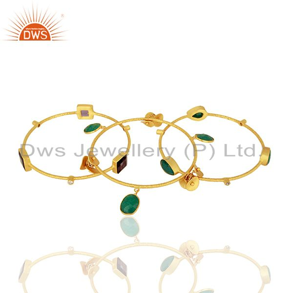 Wholesalers of Multi gemstone with charms brass 14k gold plated bangle set jewelry