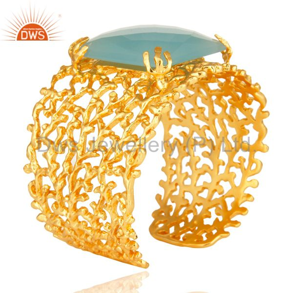 Suppliers 18K Yellow Gold Plated Dyed Aqua Chalcedony Designer Wide Cuff Bracelet Bangle