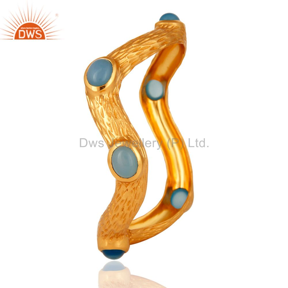 Wholesalers of Aqua blue chalcedony 18k yellow gold over designer textured bangle