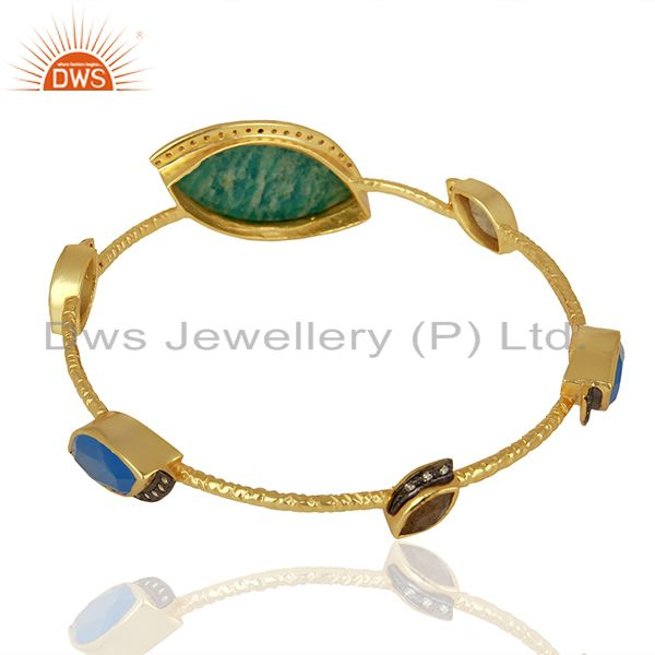 Wholesalers of Amazonite gemstone gold over womens brass bangle jewelry supplier