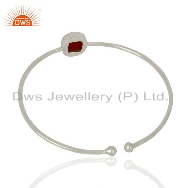 Wholesalers of Red onyx cuff 925 sterling silver bangle gemstone jewelry