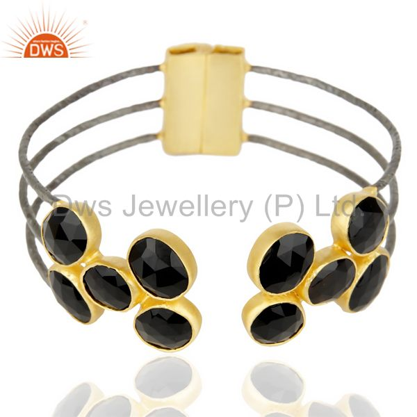 Suppliers Natural Black Onyx Textured 18K Yellow Gold Plated Cuff Bangle Brass Jewelry