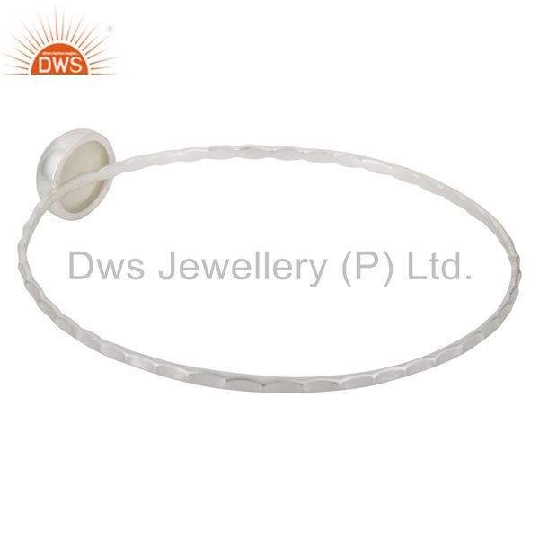 Wholesalers of Textured 925 sterling natural white chalcedony sleek design bangle