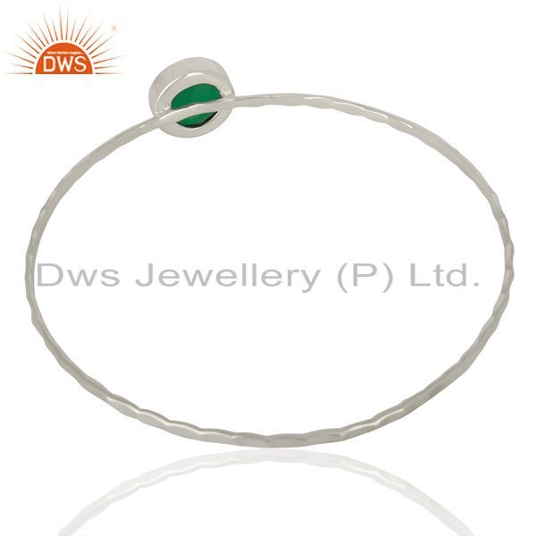 Wholesalers of Green onyx cuff 925 sterling silver bangle gemstone jewelry
