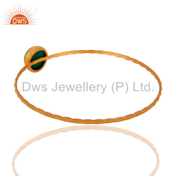 Wholesalers of 18k yellow gold plated sterling silver green onyx gemstone bangle