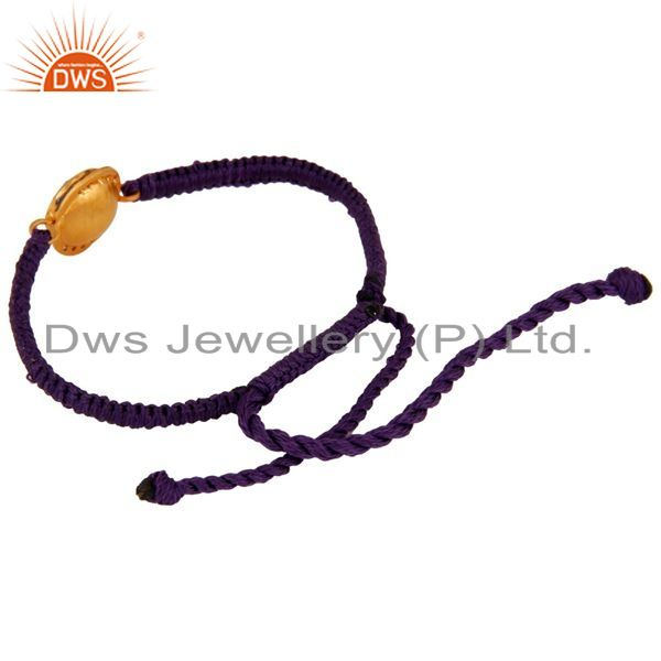 Suppliers Purple Aventurine And CZ Sterling Silver Macrame Fashion Bracelet - Gold Plated