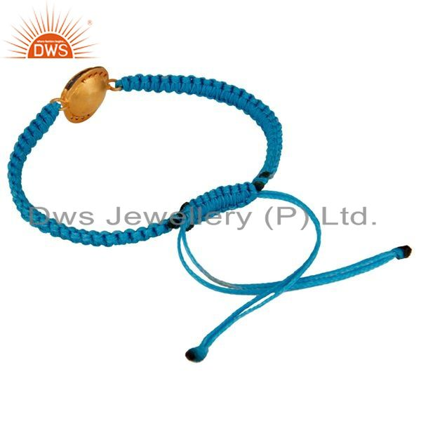 Suppliers Gold Plated Blue Aventurine And CZ Sterling Silver Macrame Bracelet Jewelry