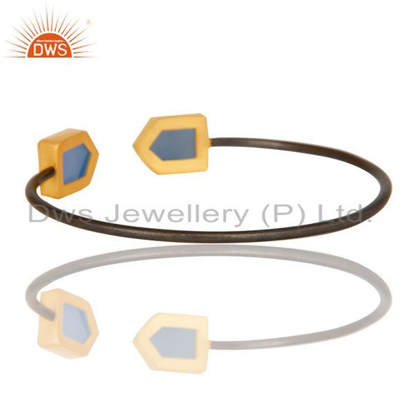 Suppliers 18K Yellow Gold Plated & Black Oxidized Dyed Chalcedony Brass Cuff Bangle