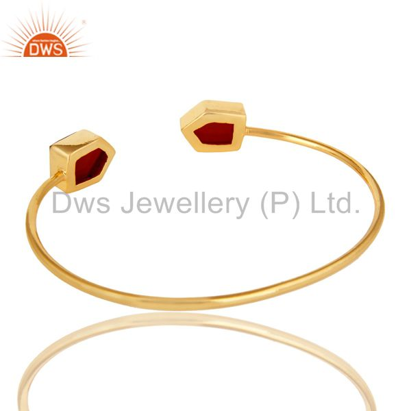 Suppliers Handmade Red Onyx Gemstone 22K Yellow Gold Plated Adjustable Bangle