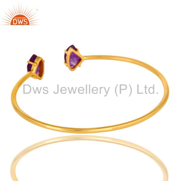 Suppliers 14K Yellow Gold Plated Prong Set Purple Chalcedony Open Stack Bangle Bracelet