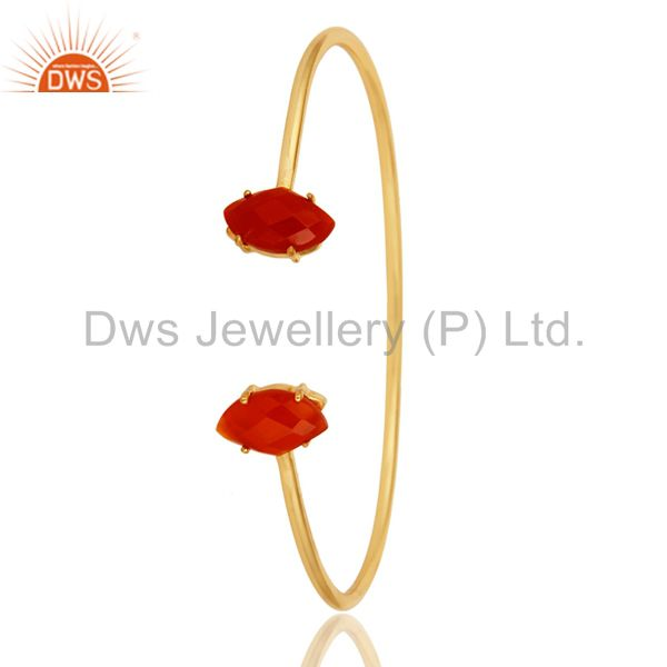 Suppliers 18K Yellow Gold Plated Prong Set Red Onyx Gemstone Adjustable Bangle