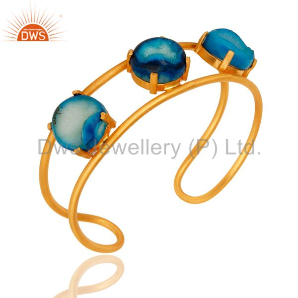 Suppliers 18K Yellow Gold Plated Over Brass Blue Agate Druzy Cuff Bracelet Bangle Jewelry