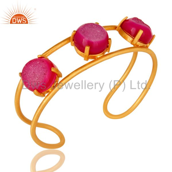 Suppliers 18K Yellow Gold Plated Natural Pink Druzy Agate Designer Cuff Bracelet Jewelry