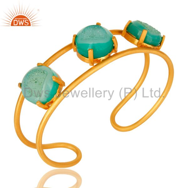Suppliers 18K Yellow Gold Plated Over Brass Green Druzy Agate Cuff Bracelet / Bangle