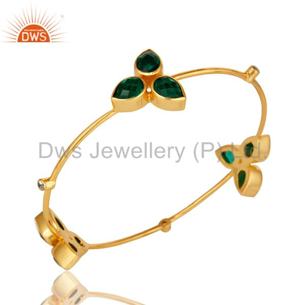 Wholesalers of Handmade hydro green onyx 14k yellow gold over cz stackable bangle
