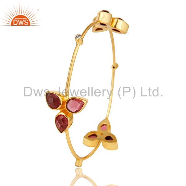 Wholesalers of 14k yellow gold plated pink glass and cz stacking handmade bangle