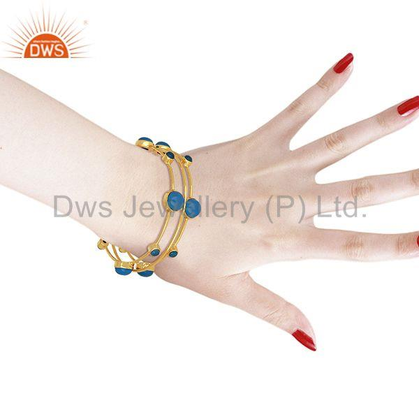 Wholesalers of Blue chalcedony gemstone 925 silver gold plated bangle set jewelry