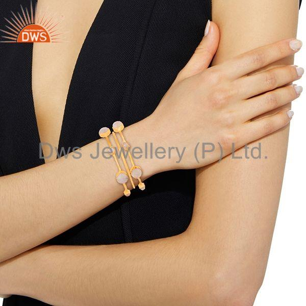 Wholesalers of Rainbow moonstone gold plated 925 silver three bangle set jewelry