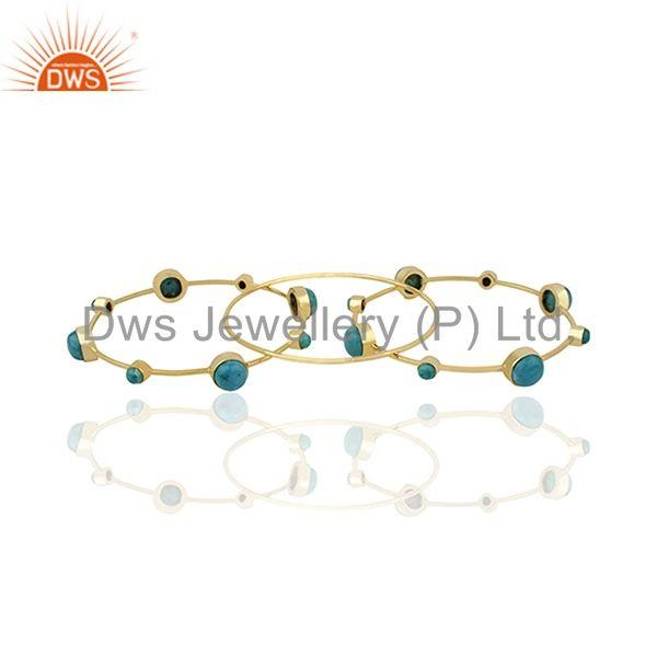 Wholesalers of Handmade gold plated 925 silver turquoise gemstone three bangle set