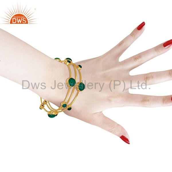 Wholesalers of Solid 925 silver gold on green onyx gemstone bangle set wholesale