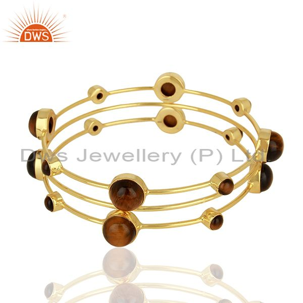Wholesalers of Tiger eye gemstone gold plated 925 silver three bangle set supplier