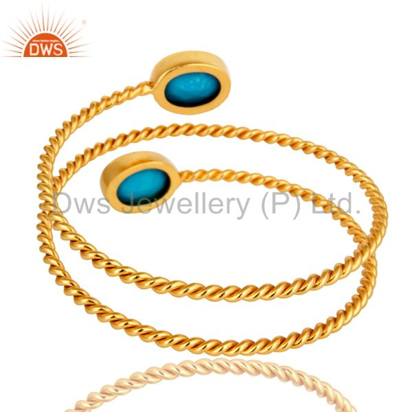 Wholesalers of 18k yellow gold over turquoise gemstone twisted adjustable bangle