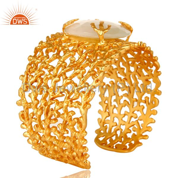 Suppliers 14K Yellow Gold Plated White Moonstone Gemstone Adjustable Cuff Bracelet / Ban