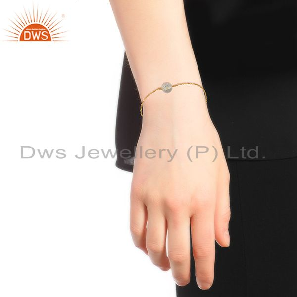 Suppliers Crystal Quartz Ball Gold Plated Silver Chain Bracelet Manufacturers